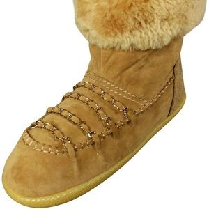 Chanel Brown Shearling & Suede Fur Chain Boots